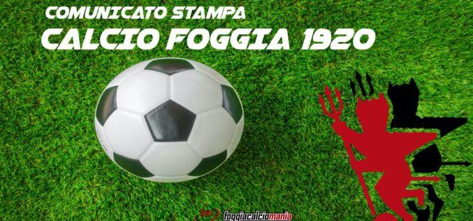 Comunicato stampa Calcio Foggia 1920 sulla questione Curcio